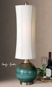 "ATHERTON UPSCALE 33"" CERAMIC DRIP FINISH ACCENT TABLE LAMP UTTERMOST"