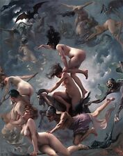 Nude Witches Vision of Faust Luis Ricardo Falero fine ART Canvas print
