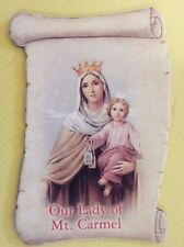 Our Lady of Mount Carmel Scroll Shaped Magnet, New