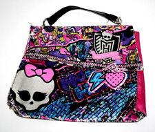 Monster High Girls Purse Handbag Pink Blue Graffiti Look Print Skulls Hearts