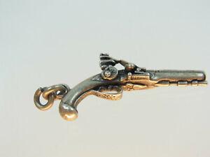 Schöne  Miniatur Steinschloss Pistole 800 Silber fein gearbeitet um 1950