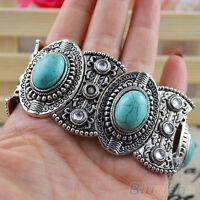 Eg _ Damen Boho Stil Retro Vintage Natürlich Türkis Tibet Silber Armband Ba
