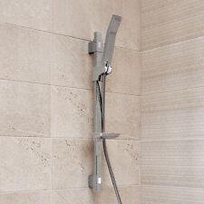 Shower Riser Slide Rail Bar Kit Hose Bracket Round Shower Head Chrome Shower