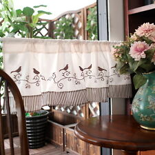 Home decorate Kitchen Embroidered bird Sheer Cafe Curtain 145 X 35 cm