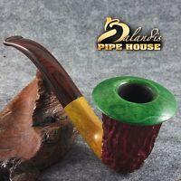 Mr.Balandis Original Briar Handmade Tobacco smoking pipe CALABASH - RASTA Colors