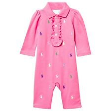 b05d4127ba9 RALPH LAUREN baby girl Pink Schiffli BABYGROW 3 6 9 12M ruffle multi pony  BNWT