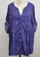 Denim 24/7 18W Button Up Pintuck Blouse Women's Plus Size Purple Black