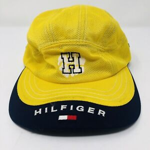 Vintage Tommy Hilfiger yellow navy 8 panel strapback cap hat Taiwan Box Flag