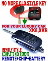 BENTLY STYLE FLIP KEY REMOTE FOR JAG XK8 XKR CHIP KEYLESS ENTRY TRANSMITTER FOB