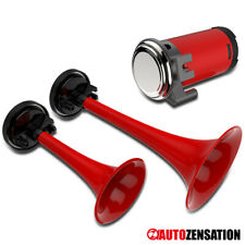 Red 12v Dual Trumpet Tone Compact Loud Air Horn Kit W/Compressor 115db