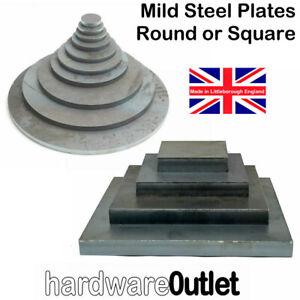 MILD STEEL SQUARE or ROUND Disc Plate Sheet Metal Laser Cut Washer Blank UK made