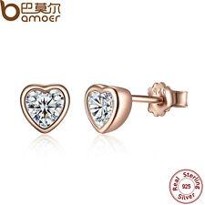 Bamoer Women S925 Sterling Silver Rose Gold Heart Stud Earrings With AAA CZ