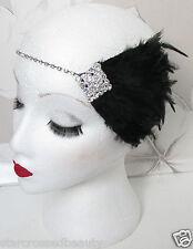 Diamante De Imitación Negro Tocado De Plumas Plata Flapper 1920s Diadema
