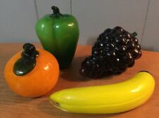 Vintage Murano Style Art Glass Decor Fruit Purple Grapes Banana Orange Pepper