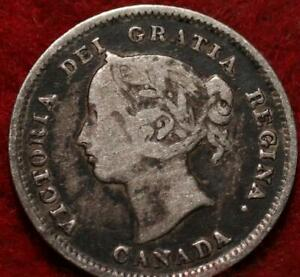 1885 Canada 5 Cents Silver Foreign Coin