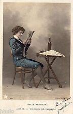 BK706 Carte postale Photo vintage card RPPC couple fantaisie Idylle Parisienne