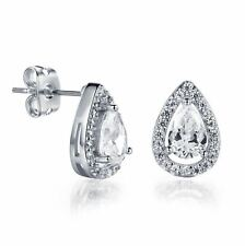 18K White Gold GP Heart CZ Cubic Zirconia Wedding Bridal Stud Earrings Gift