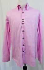 Bogosse Mens Shirt Size 6 Pink Flip Collar Exotic Triple Button NICE!
