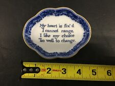 """Mottahedeh My Heart is Fix'd Quote collectible Trinket Dish Blue & White 4.5"""""""
