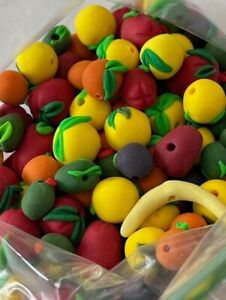 Lot of Assorted Fruit Polymer Clay Beads (over 100) Handmade unique Designs