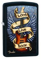 ZIPPO  Fender Long Live Rock  Schwarz mit Druck  TOP