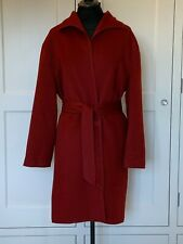 Valentino Dark Red Belted Luxury Wool Wrap Coat 10-14