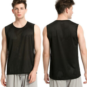 Mens Sport Breathable Mesh Vests Sleeveless T-Shirt Tops Bodybuilding Tee
