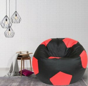 heimdekor Football Bean Bag Cover without Beans (Black & Red)
