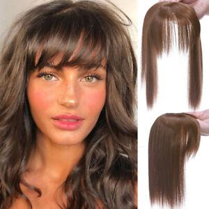Narural as Human Hair Topper Bangs Toupee Clip Hairpiece Top Hairpiece Brown US