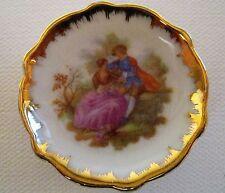 """mint vintage Limoges miniature mini porcelain gold trim rare plate lovers 2"""""""