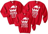 Mama Elf Papa Raised By Elves Christmas Sweater Jumper Set Funny Family Matching
