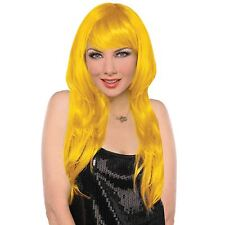 Ladies Long Straight Bright Yellow Blonde Hair Wig Cosplay Fashion Fancy Dress