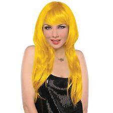 Mesdames tangente longue jaune vif cheveux blonds perruque cosplay de mode robe fantaisie