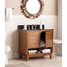 Modern Mid-Century 2 Door Open Shelf Wood Granite Top Bathroom Vanity with Sink