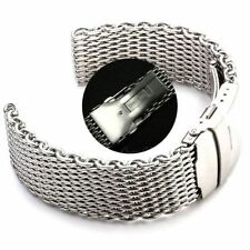 Solid clasp 22mm Stainless Steel Band Shark Mesh Watch Strap