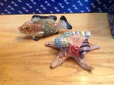 FITZ & FLOYD 1996 LA MER SALT & PEPPER SET FISH STARFISH SHELL HARD TO FIND!