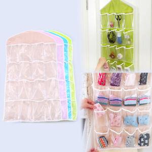 16Pockets Hanging Bag Clothes Socks Bra Storage Colorful Holder Rack Organizer