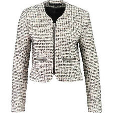 Chic NUEVO French Connection Crema Negro Tweed FCUK Chaqueta UK14 US10 it46 BNWT