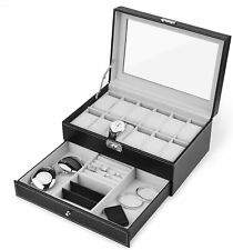 New 12 Slots Pu Leather Watch for Mens Case Organizer Jewelry Display Drawer