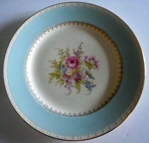 Homer Laughlin Eggshell Georgian Blue Dinner Plate Roses Gold