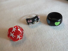 Beautiful Plastic Ring Set 3 All Size 5 1/4 done in Black Red Faux Pearls Nice