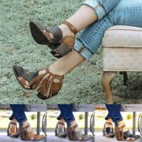 Women Breathable Tassel Ankle Strap Boots Ladies Mid Chunky Square Heel Shoes SH