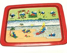 Vintage Collectable Smurf Metal Tray, Day At The Beach, Willow.