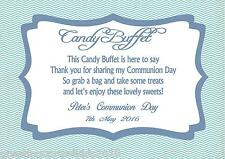 Personalised Boy Communion Candy Buffet Table Sign Design 2