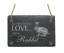 « KANINCHEN » gravierte Schiefertafel - ideales Geschenk für Hasen Fans