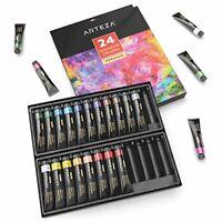 Arteza Gouache Paint Set, 24 Premium Colours x 12 ml, with Storage Box