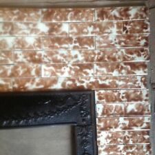 Complete Set Vintage Victorian Antique Fireplace Tile Mantle Tiles Brown Cream