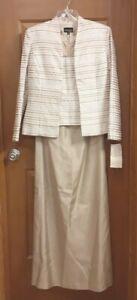 Xscape by Lawrence Kurtz Women's Long Dress & Jacket Brocade & Satin Size 10 NWD