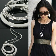 Women Crystal Rhinestone Silver Plated Long Chain Pendant Fashion Gift Necklace