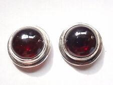 Garnet 925 Sterling Silver Round Stud Earrings Corona Sun Jewlery